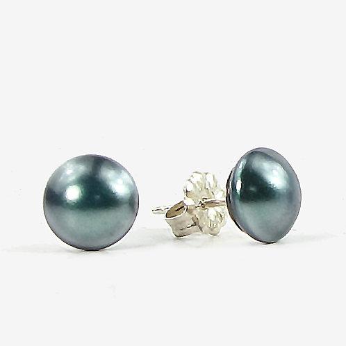 Crystal Pearl Stud earrings - Tahitian