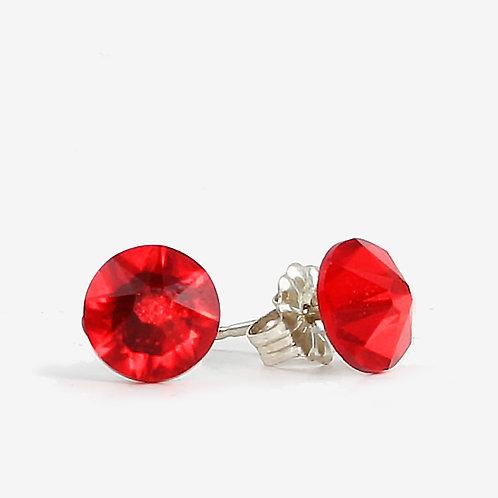 7mm Swarovski Crystal Stud Earrings - Light Siam