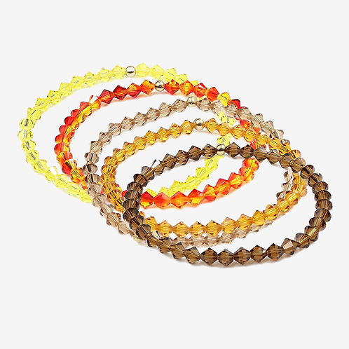 Crystal Bracelets - Browns & Yellow