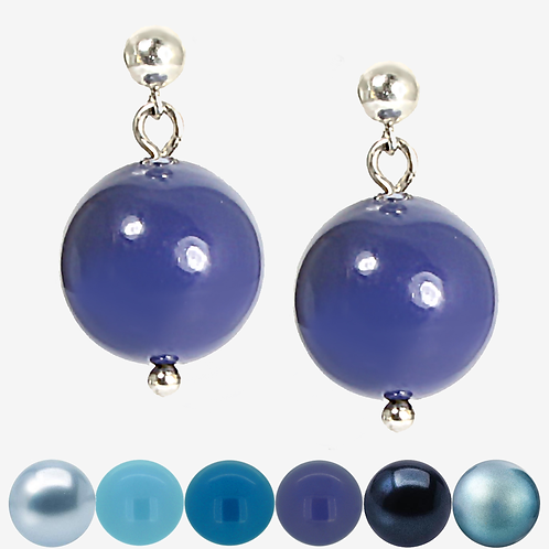 Crystal Pearl Drop Earrings - Blues