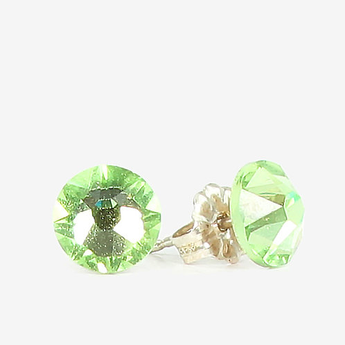 7mm Crystal Stud Earrings - Peridot