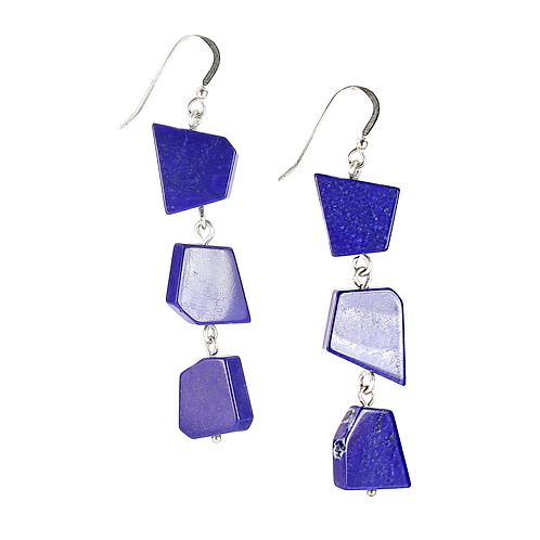 Contemporary Lapis Lazuli on sterling silver earrings