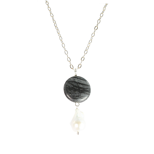 Obsidian and Pearl pendant