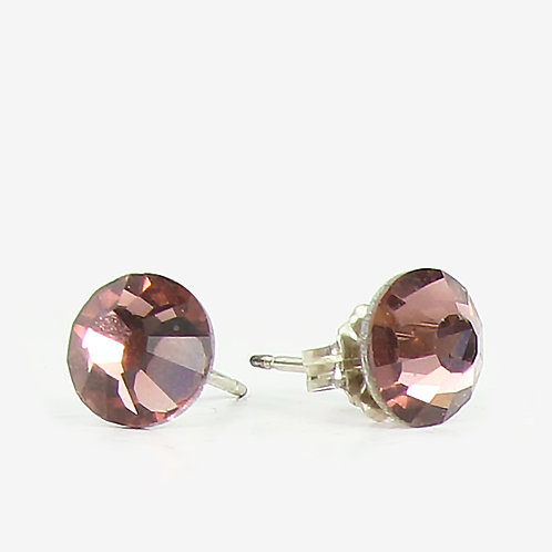 7mm Crystal Stud Earrings - Lt Burgundy