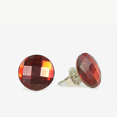 10mm Swarovski Crystal Round Chessboard Earrings - Red Magma