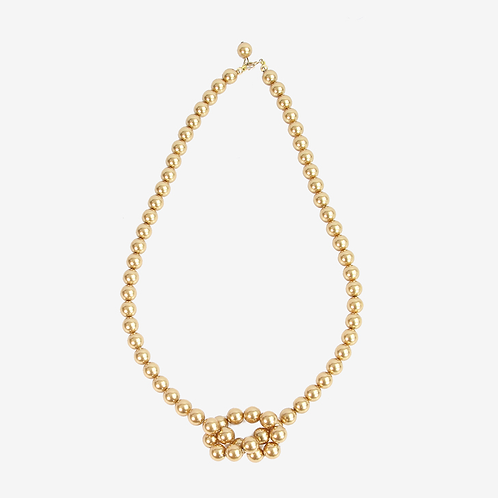 Warm & Bright Crystal Pearl Knot necklace