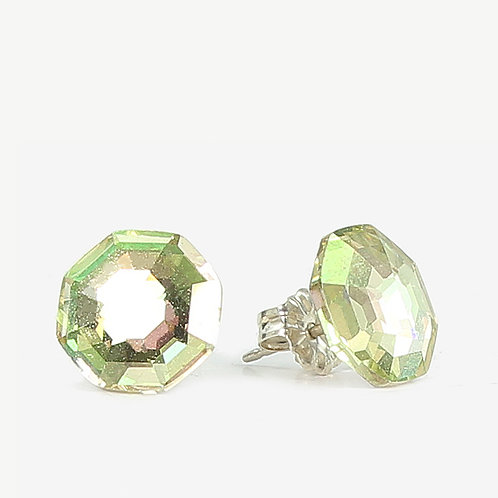 10mm Swarovski Crystal Hexagon Earrings - Luminus Green