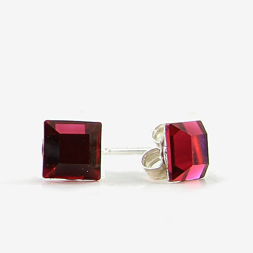6mm Swarovski Crystal Square Earrings - Scarlet