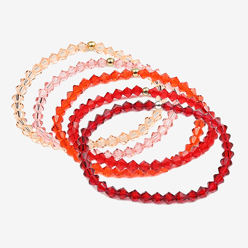 Crystal Bracelets - Red, Orange & Peach