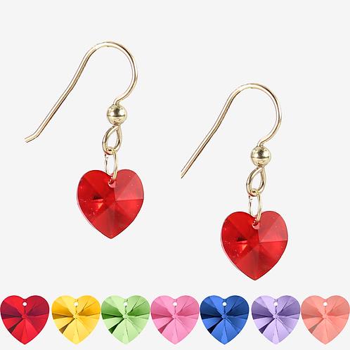 Crystal Heart earrings - 28 colours