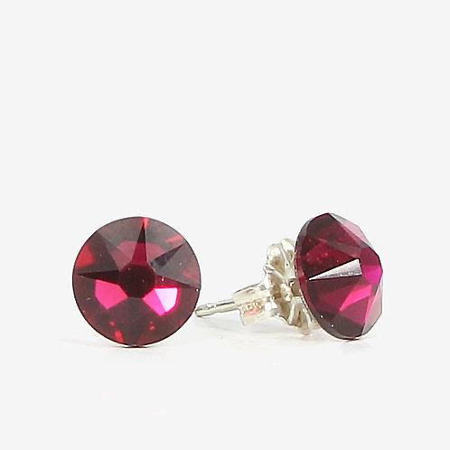 7mm Crystal Stud Earrings - Ruby