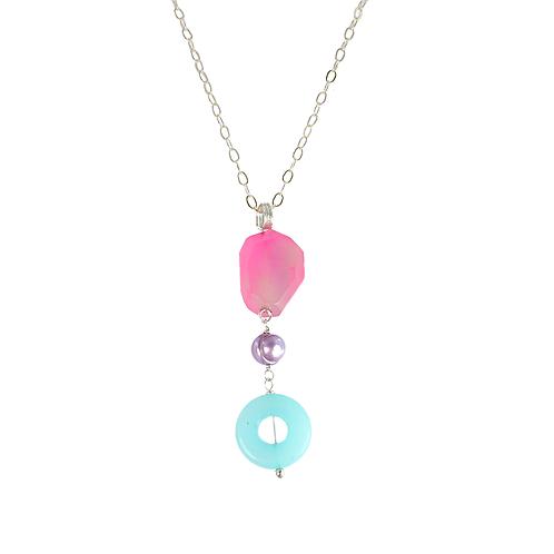 Agate Pearl and Amazonite pendant