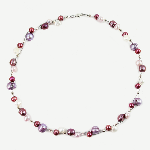 Freshwater and Keshi Pearl Flow necklace Pinks