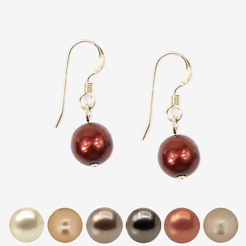 Brown, Beige and Gold Pearl Hook earrings