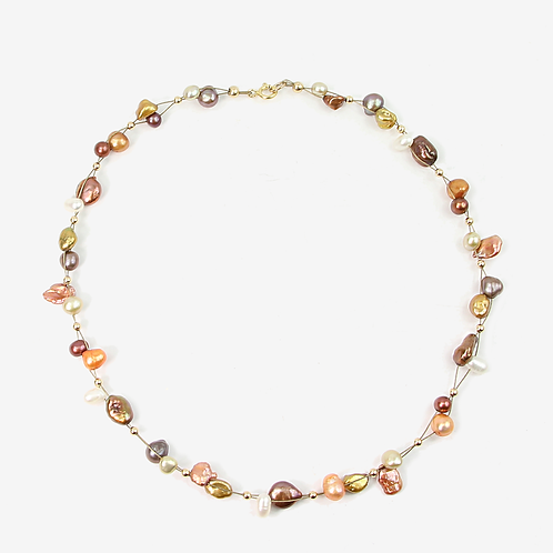 Brown Copper Keshi Freshwater Pearl necklace