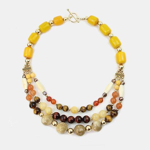 Mixed Semi-precious Stone multi-strand necklace - browns