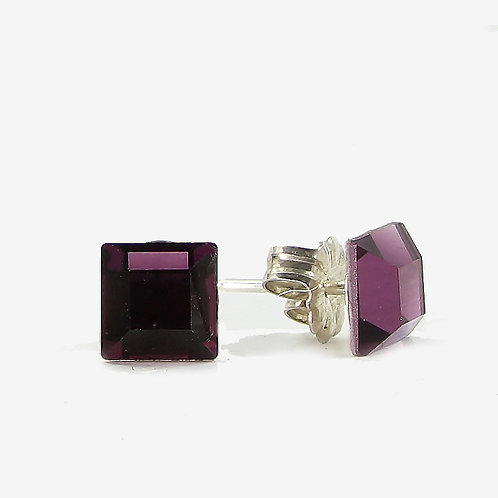 6mm Swarovski Crystal Square Earrings - Amethyst