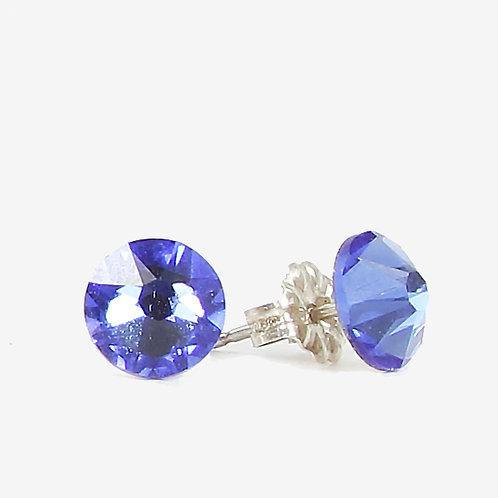 7mm Swarovski Crystal Stud Earrings - Sapphire