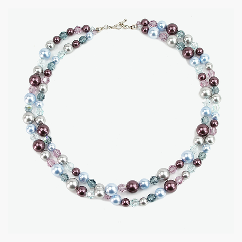 Double Strand Crystal and Pearl necklace - Blue & Plum
