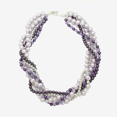Swarovski Multi-strand necklace - Purple & Mauve