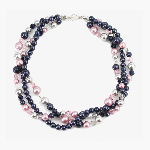 Triple Strand necklace - Pink & Navy