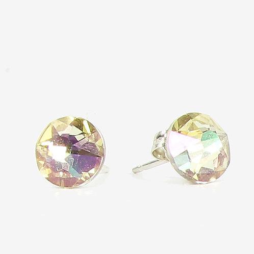 7mm Crystal Stud Earrings - Luminous Green