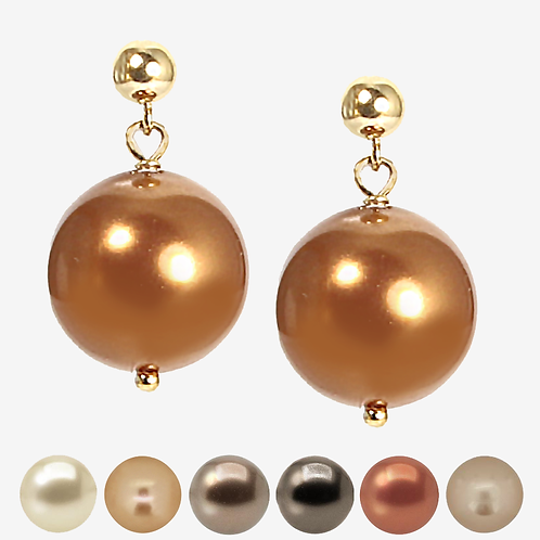 Crystal Pearl Drop Earrings - Brown, Beige & Gold