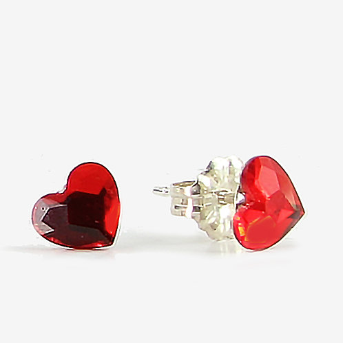 3.6mm Crystal Heart Stud Earrings - Light Siam