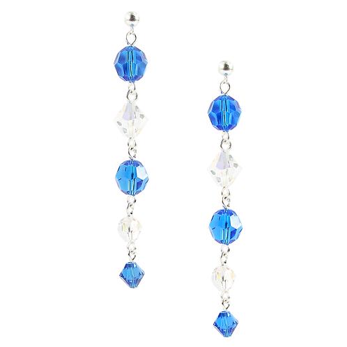 Capri Blue and Clear long earrings