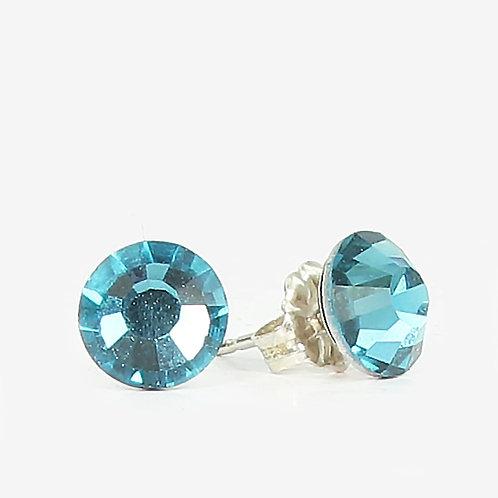 7mm Swarovski Crystal Stud Earrings - Indicolite