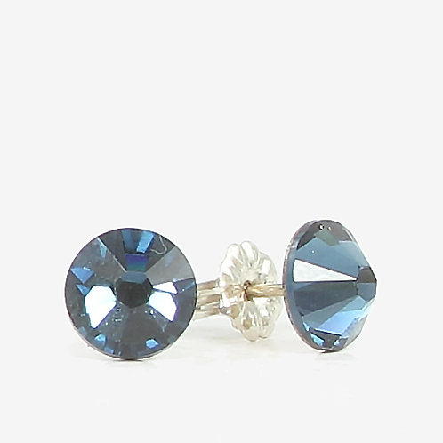 7mm Swarovski Crystal Stud Earrings - Montana Sapphire