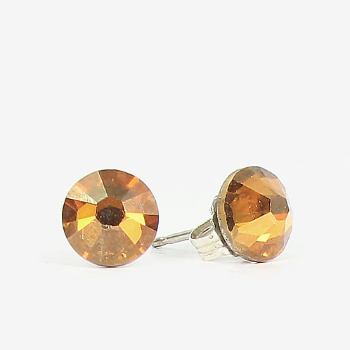 7mm Crystal Stud Earrings - Copper