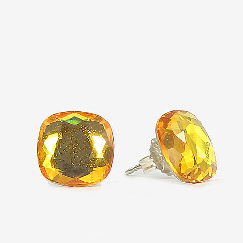 10mm Swarovski Crystal Cushion Earrings - Sunshine