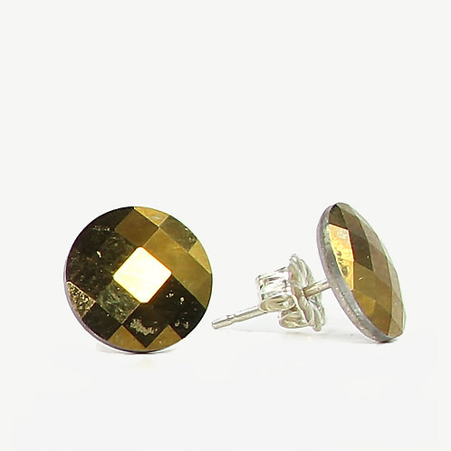 10mm Swarovski Crystal Round Chessboard Earrings - Crystal DOR