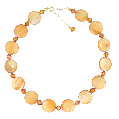 Amber Pearl Button necklace with extension chain