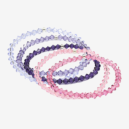 Crystal Bracelets - Pink and Purple