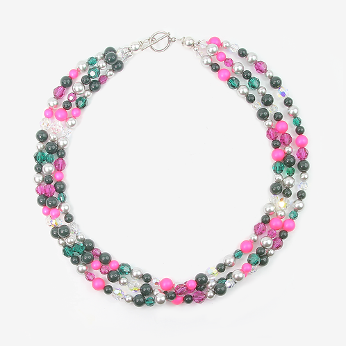 Multi-strand Crystal necklace - Pine & Fuchsia