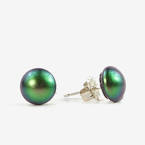 Crystal Pearl Stud earrings - Scarabacaeus Green