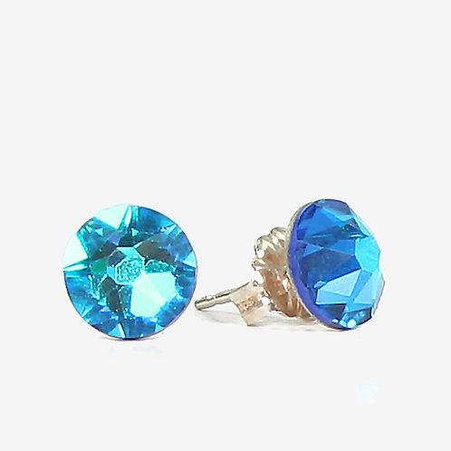 7mm Crystal Stud Earrings - Bermuda Blue