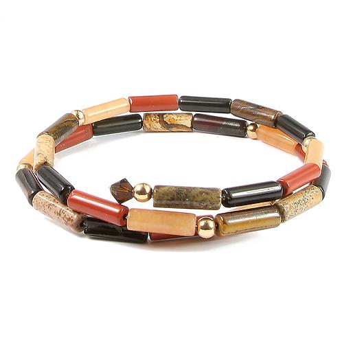 Mixed Semi-precious Stone Wraparound bracelet.