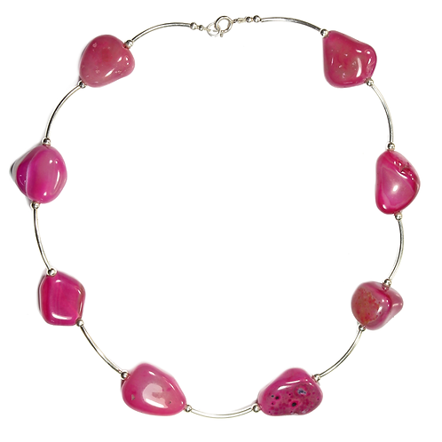 Fuchsia Agate Curved Link necklace