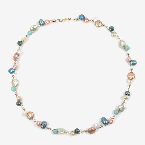 Keshi and Freshwater pearl necklace - Soft Autumn