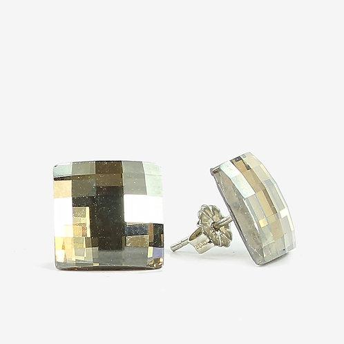 15mm Swarovski Crystal Chessboard Earrings - Gold Shadow