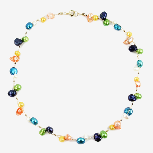 Freshwater and Keshi Pearl Flow necklace Blues & Brights