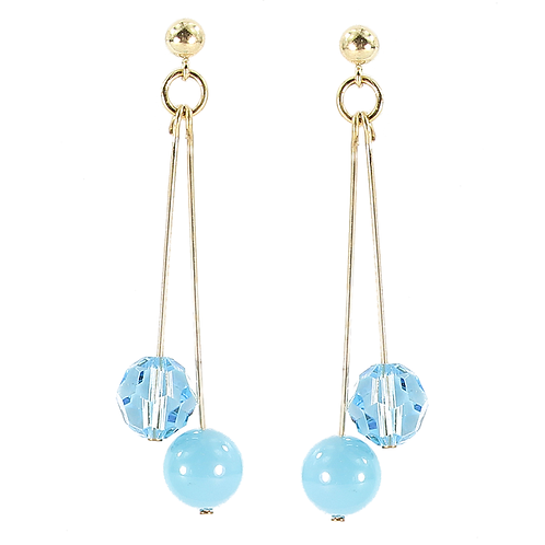 Swarovski Pearl & Crystal double drop earring