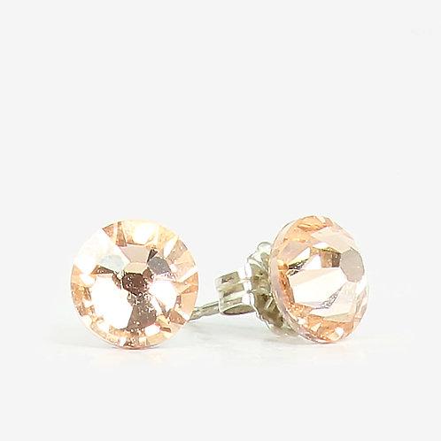 7mm Crystal Stud Earrings - Light Peach
