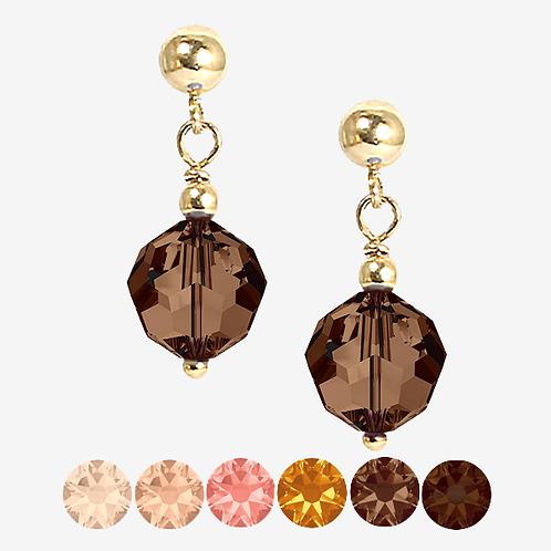 Brown & Peach Drop Earrings