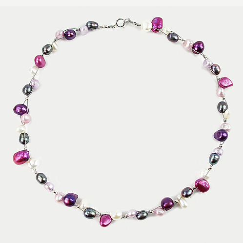 Freshwater and Keishi Pearl Flow necklace Pinks & Purple