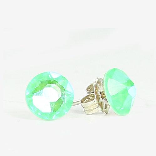 7mm Crystal Stud Earrings - Electric Green