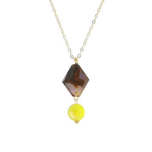 Tigers Eye with Lemon Jade 14K gold-fill pendant